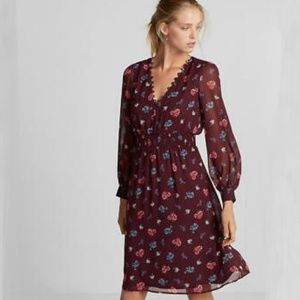 EXPRESS Maroon Floral Smocked Waist Midi Dress